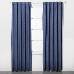 PILLOWFORT Chambray Blue Blackout Curtain 2 Panels
